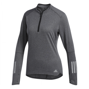 Womens Adidas RS LS Zip Tee Grey-0