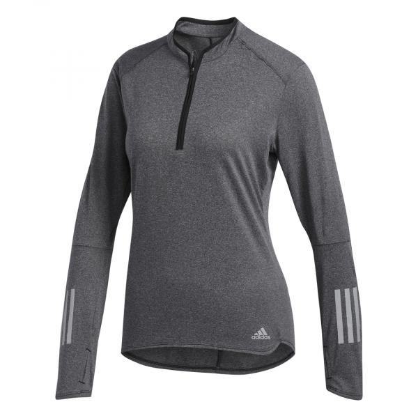 Womens Adidas RS LS Zip Tee Grey-0