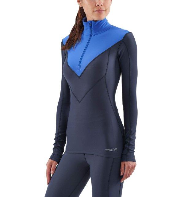 Womens Skins DNAmic Thermal Long Sleeve Top Navy-9156