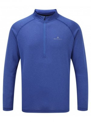 Mens Ronhill Everyday LS Zip tee Blue-0