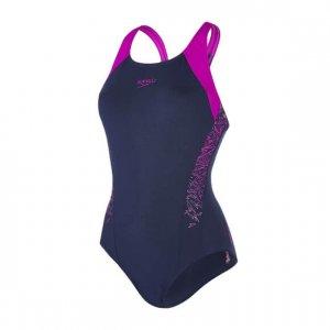 Womens Speedo Boom Splice Muscleback Swimsuit Navy/Purple-0