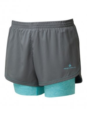 Womens Ronhill Stride Twin Short Peacock-0