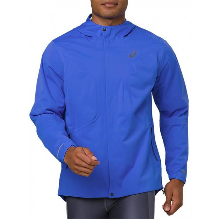 Mens Asics Accelerate Waterproof Jacket Blue